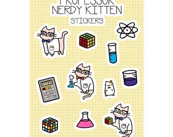 Kawaii Sticker Sheet Cute Cat Stickers Science Cat Science Stickers Nerdy Cat Science Gift Super Cute