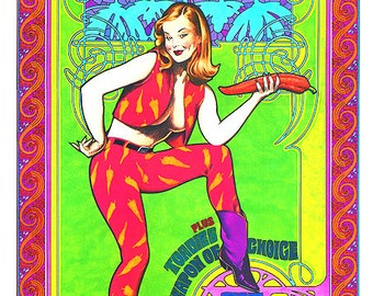 Red Hot Chili Peppers Pin-up Style Rock and Roll Concert Poster