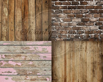FOUR 2ft x 2ft Brick & Wood Floordrops / Vinyl Photography Backdrops for Product Photos