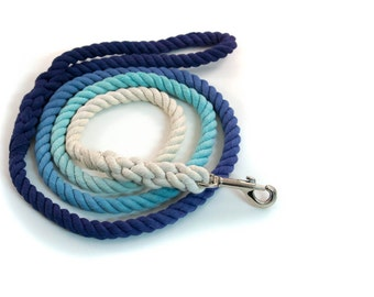 """Ombre Rope Leash """"Jean Luc"""" in Two Tone Blue Ombré"""