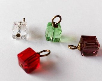 6mm Cube shaped Crystal Birthstone, one piece, 12 Brithstones, birthday gift,personalized gift ,custom present, Antique Bronze jewelry Charm