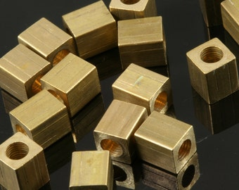 """Raw Brass square spacer 10 pcs 5 x 6 mm 3/16"""" x 1/4""""  finding square industrial design (3 mm 1/8"""" 9 gauge hole ) bab3"""