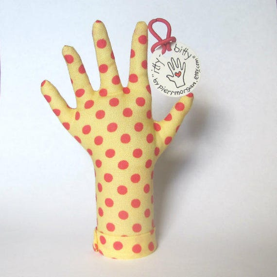 itty bitty Salmon Polka Dotty HAND-Stand ~ Baby Ring Teething Necklace Holder ~ Ready to Ship
