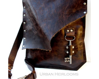 Rustic Brown Leather Messenger Bag with Antique Skeleton Key - Large MADE to ORDER - Rocker Biker Steampunk Goth