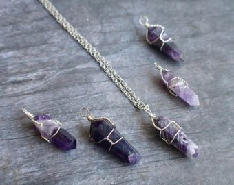 Amethyst Necklace,  Amethyst Point Necklace, February Birthstone, Wire Wrapped Point, Gemstone Necklace