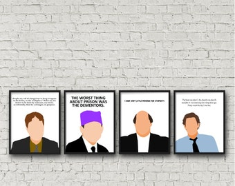 ALL 4 PRINTS. The Office, Jim Halpert. Michael Scott, Dwight Schrute Kevin Malone. Digital Download, Funny quote, tv sitcom Printables Gifts