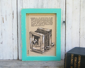 Retro Style Print, Rustic Print, Antique Camera Print, Photographer Gift, Dictionary Art, Bedroom Decor, Home & Living, Housewarming Gift