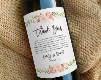 Wine Bottle Thank You Label \\ Wedding Favor \\ Gift \\ Centerpiece