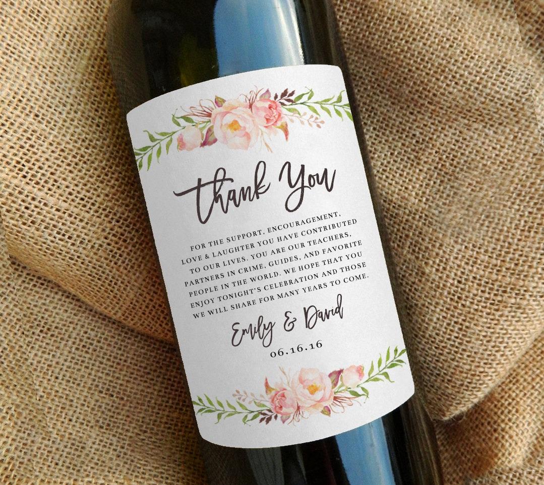 Wine Bottle Thank You Label Wedding Favor Gift