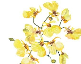 Watercolor Digital Art Yellow Orchid DIY Print