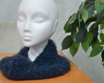 Navy Crocheted Cowl - Ultra Soft