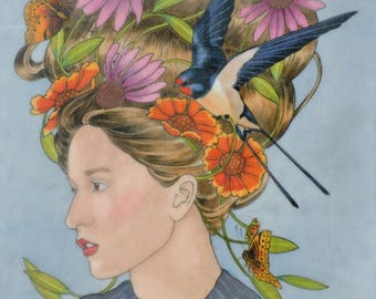 Dreams in Flight- limited edition print of original mixed media painting