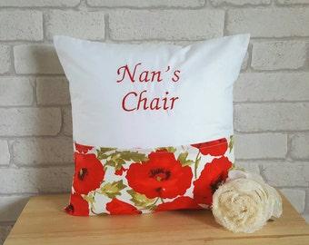 Personalized Poppy Cushion~Personalised Cushion for Nan~Pocket Cushion for Nan~Poppy Decor~Poppy Cushion~Poppy Pillow~Reading Pillow~Poppies