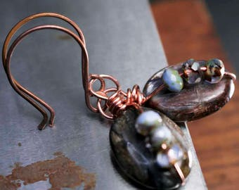 Blue Brown Kyanite Drop Copper Wire Wrapped Earrings on Hand Forge Earwires with Blue Brown Czech Glass Beads Boho Style for Her Gift Idea