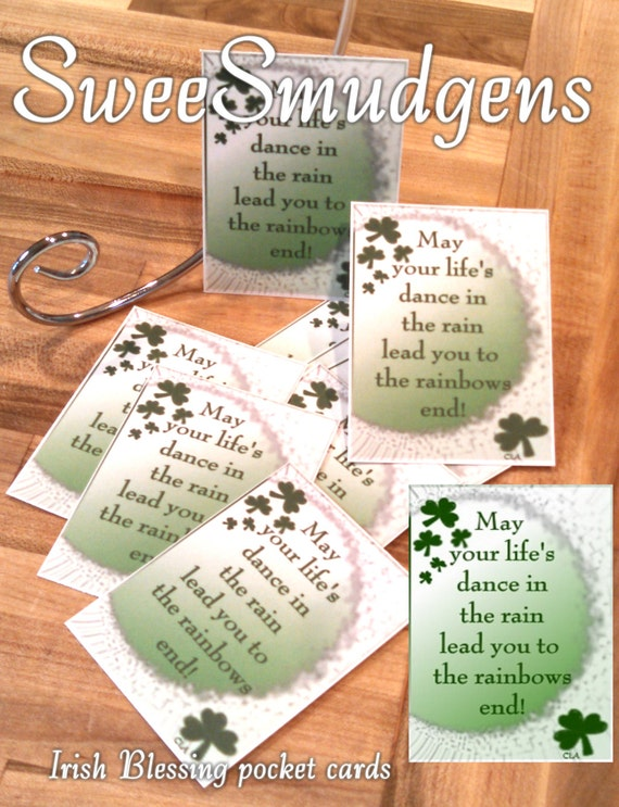 Pocket cards Irish blessings St Patrick's day shamrocks gift tags encouragement cards mini card party supply floral supply bag tags set of 9