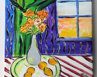 Abstract Florals, Still Life Painting, Home Decor, Inspired By Henri Matisse