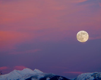 Full Moon over one of the Bitterroot Mountain Peak