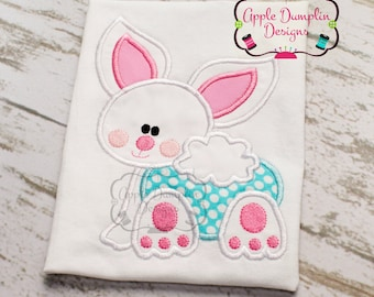 Easter Baby Bunny Applique Machine Embroidery Design, Boy, Girl, Easter Basket, Easter Eggs, Spring, Summer, 5x7, 6x10, 9x9
