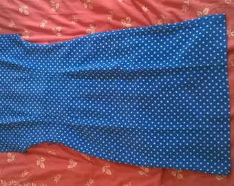 Leslie Fay polyester periwinckle blue polka dots dress from the 1980s