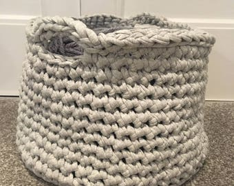 Grey Crocheted Basket - MEDIUM