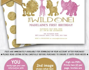 Baby's First Birthday Invitation, 1st Birthday Zoo Animals, Wild One,Jungle Animals First Birthday, Zoo Birthday party, INSTANT DOWNLOAD