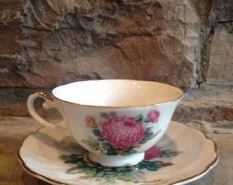 Norcrest November Teacup Flower Month Tea Cup C131 Chrysanthemum Pink Mums Vintage China
