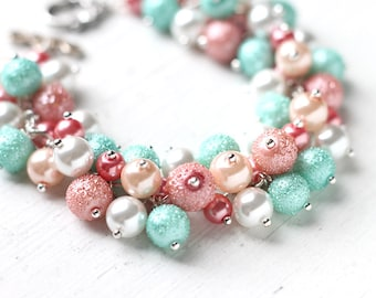 Pastel Spring Wedding Bridesmaids Jewelry, Pearl Cluster Bracelet - Mint Green, Peach Pink and White Bracelet