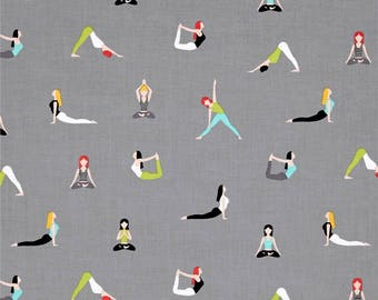 Yoga Good Postures Spa Grey Namaste Yogi Cotton Fabric from the Namaste Collection by Michael Miller Fabrics