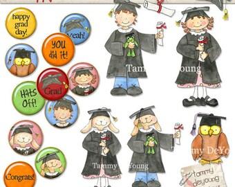 Graduation Clip Art, Instant Download Graduation clipart for Kindergarten and preschool, graduation for kids, cards announcements, scrapbook