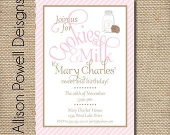 Cookies and Milk Custom Birthday Party Invitation