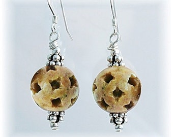 Soapstone Post Earrings, Earth Tones Jewelry, Ball and Post Round Earrings, Light Brown Earrings, - E808-05A