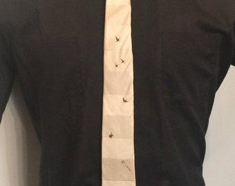 "Vintage MENS designer Lilly Dache ""The Hunter"" silk skinny tie, circa 50s-60s"