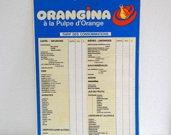 French ORANGINA Advertising Sign / Retro 70s Bar Price List Board