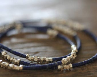 Lapis Lazuli and silver sugar cube beads necklace (N0065)