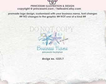 1225-7  sea star logo, logo design, starfish logo, starfish, sea star, crafting logo, craft logo, art logo, small business logo, photography