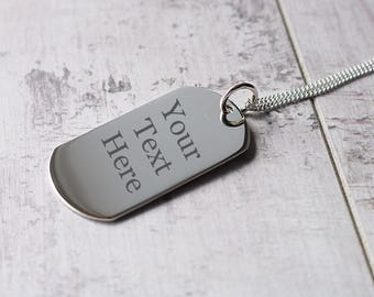 Silver Dog Tag Necklace  - ID Necklace - Personalised Necklace