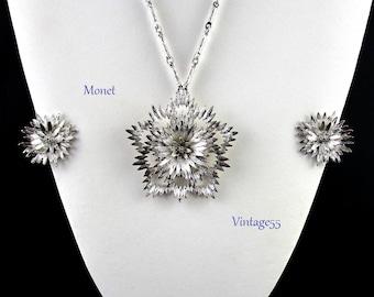 Monet Necklace Set Earrings Silver tone Floral Vintage