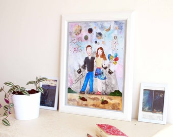 Space Art - Custom Couple Portrait - Original Mixed Media Painting