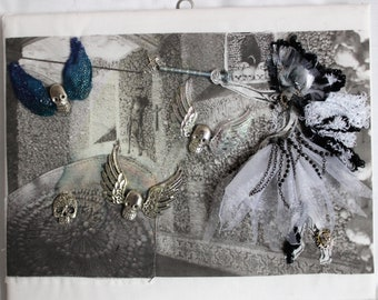 Gyare, goth, steampunk fairy, fabric , textile, fantasy art
