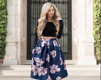 Navy Floral Print Flare Skirt