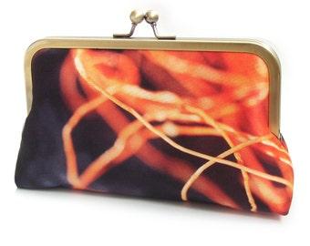 Clutch bag, orange and navy purse, abstract silk print, threads, twine