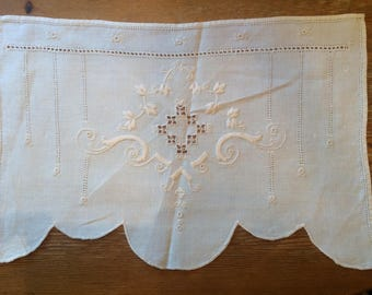 Cream Colored Embroidered Vintage Textile