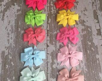 Little Girl Bow Hair Clip  - Holiday Bow Hair Accessory - 3 inch Hair Bow Clip - Hair Clip for Girls - Solid Bow Clips -
