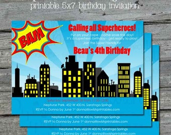 SuperHero Birthday Party Invitation - Superheroes Super Hero Printable 5x7 Invite - Digital