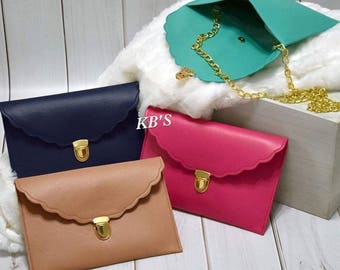 Faux Leather Scallop Clutch - Clutch Bag - Clutch Purse - Hip Bag - Monogrammed Purse - Envelope Clutch