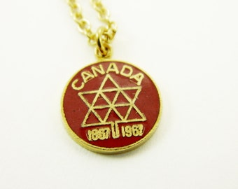 Canada Centennial Charm Necklace in Red