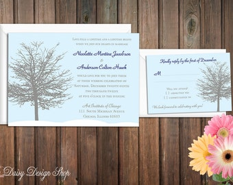 Wedding Invitation - Tree in Winter Silhouette Seasonal - Invitation and RSVP Card with Envelopes