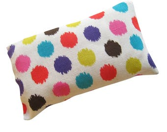 Colorful Polka Dots on White Pincushion filled with Emery Sand