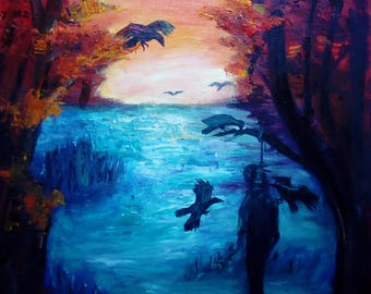 """Oil painting """"Sunset of the hanged man"""", oil on canvas cotton 53 * 72 cm"""