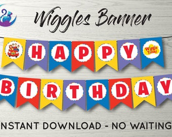 Wiggles Banner, Wiggles Bunting Banner, Wiggles Party Decoration, Wiggles Birthday Party Banner, Wiggles Happy Birthday Sign, Wiggles Sign